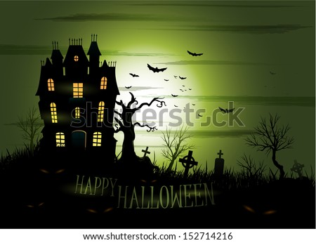 Greeny Halloween haunted house background eps 10 - stock vector