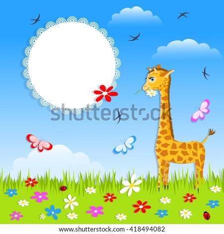 greeting baby card -  with giraffe,butterfly, flowers and white lace doily, vector illustration