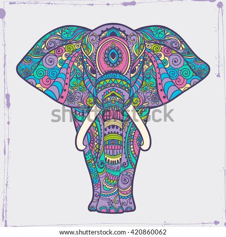 Greeting Beautiful card with Elephant Frame of animal made in vector Illustration for design pattern textiles Hand drawn map with Elephant Bright print on t-shirt cup canvas and other object - stock vector