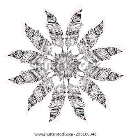 Greeting Beautiful card with Feather. Perfect  cards or for any other kind of design, birthday and other holiday. Bright illustration. Pattern with hand-drawn feathers, background, kaleidoscope, india - stock vector