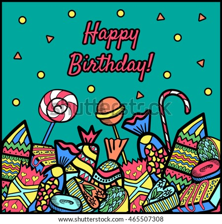Greeting birthday card candy composition on stock vector 465507308 greeting birthday card candy composition on a blue background bookmarktalkfo Image collections