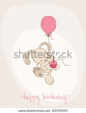 Greeting Birthday Card with Cute Bunny - stock vector