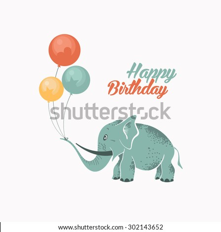 Greeting Birthday Card with Cute Elephant