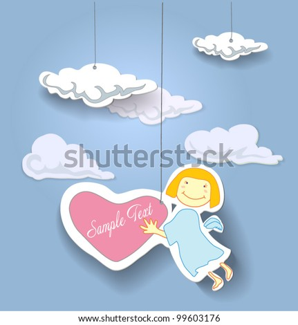 Greeting card, angel. Eps 10 - stock vector