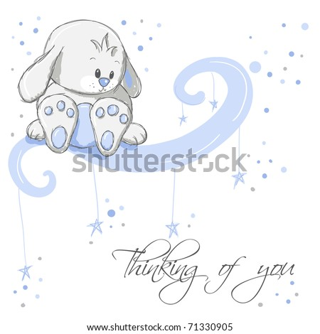 Greeting card - Blue rabbit thinking of you - stock vector