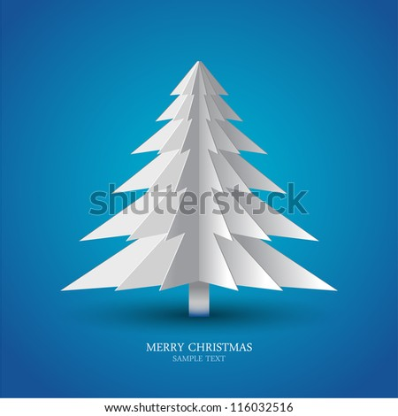 Greeting card christmas tree made from pieces of paper - stock vector