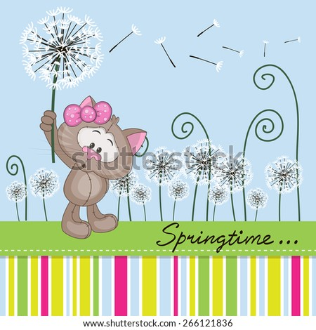 Greeting card Cute Cat with dandelion on a meadow  - stock vector