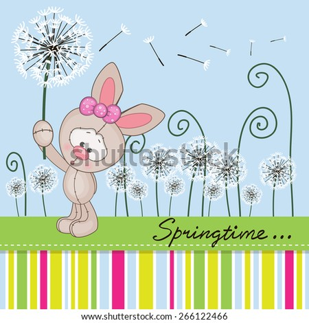 Greeting card Cute Rabbit with dandelion on a meadow  - stock vector