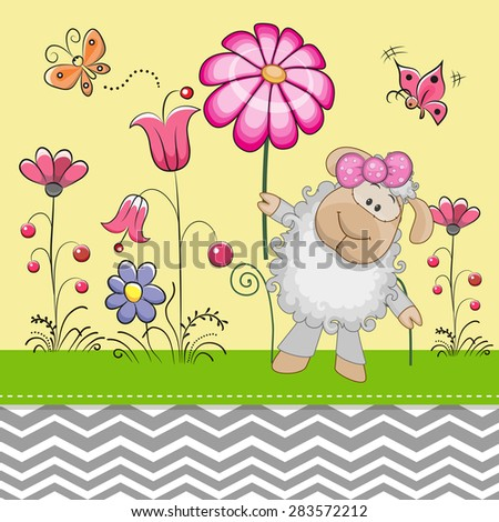 Greeting card Cute Sheep with a flower on a meadow - stock vector