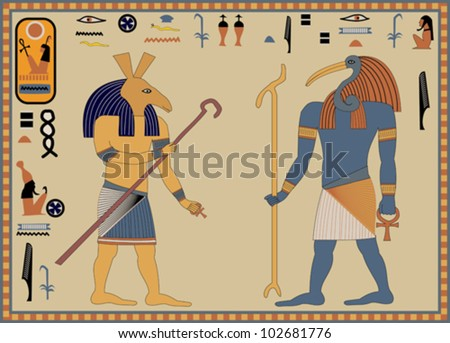 Greeting card design featuring ancient Egyptian hieroglyphics - stock vector