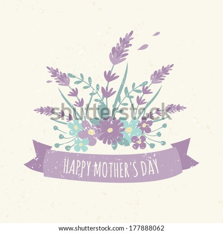 Greeting card design for Mother's Day with a bunch of wild flowers, lavender and a ribbon. - stock vector