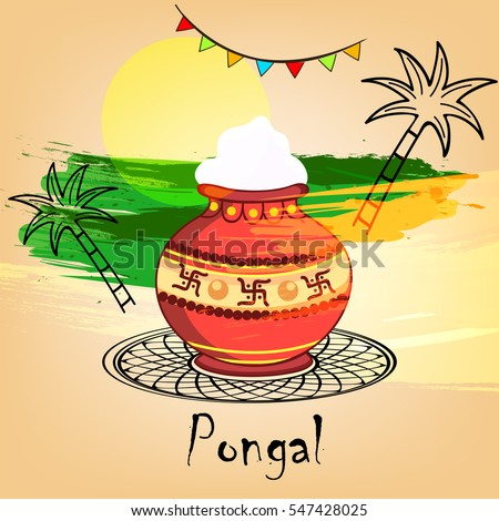 Greeting card design festival pongal based stock photo photo greeting card design for the festival pongal based on line art colorful grungy background m4hsunfo