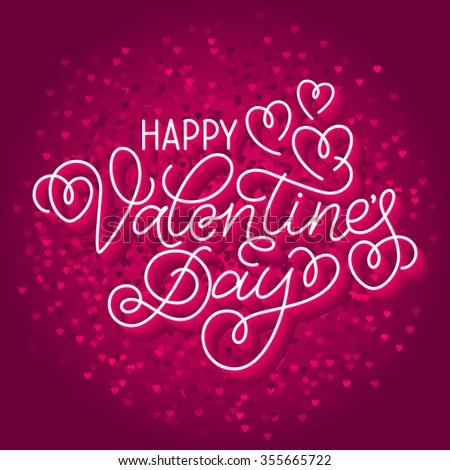 Greeting card design 'Happy Valentine's Day'. Hand lettering with hearts and swashes on sparkling pink background with a lot of hearts. - stock vector
