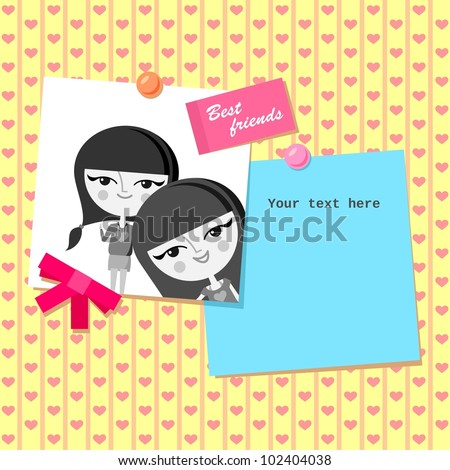Greeting Card Design Best Friends Photo Stock Vector Royalty Free