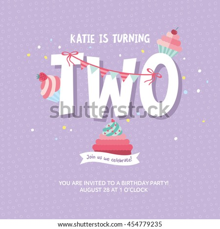 Greeting card design birthday cakes happy stock vector 454779235 greeting card design with birthday cakes happy birthday invitation template for two year old with stopboris Images