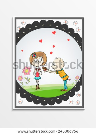Greeting card design with cute boy offering chocolate to his beloved for Happy Valentines Day celebration. - stock vector