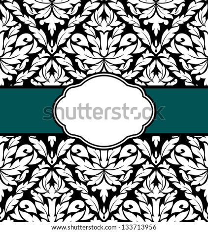 Greeting card design with floral seamless pattern in retro style. Jpeg (bitmap) version also available in gallery - stock vector
