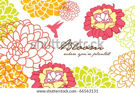greeting card design with flower background - stock vector