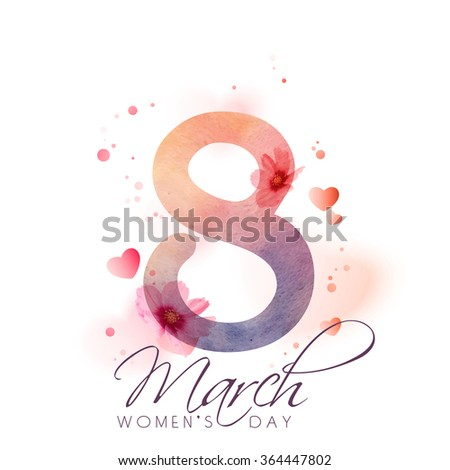 Greeting card design with stylish text 8 March on hearts and flowers decorated background for Happy International Women's Day celebration. - stock vector