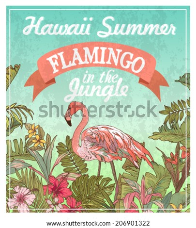 greeting card flamingo in the jungle,summer labels - stock vector