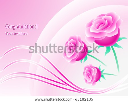 Greeting card, floral design, vector - stock vector