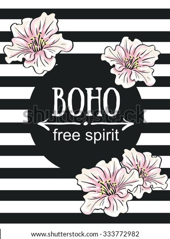 "Greeting card flowers - Boho ""free spirit"". Vector hand painting illustration with flowers. - stock vector"