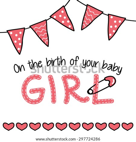 Greeting card for a baby girl arrival - stock vector