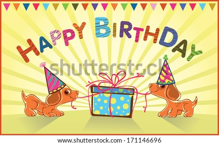 greeting card for baby. Puppies open gift. - stock vector