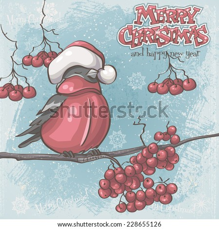 Greeting card for Christmas and New Year depicting bullfinches on branches of a mountain ash - stock vector