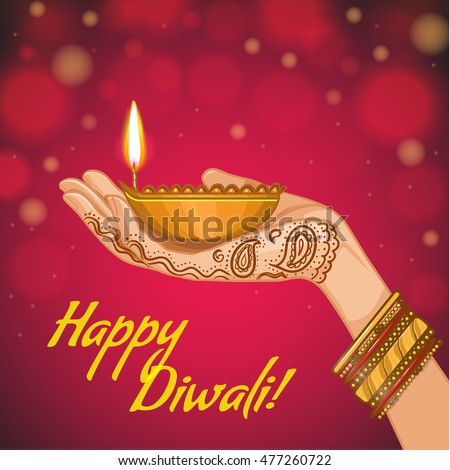 Greeting card for Diwali with diya decoration in woman hand, vector image, eps10