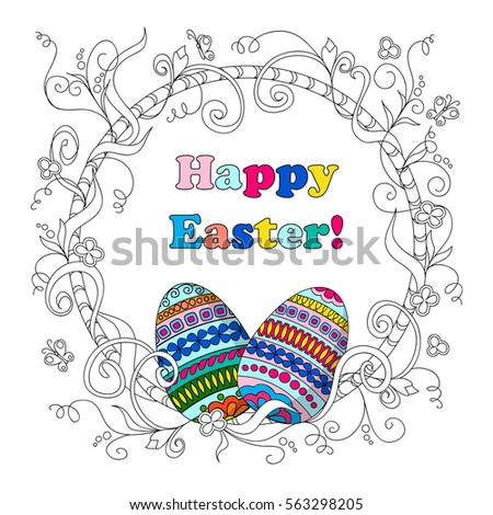 Greeting Card For Easter Day With Text Happy Hand Drawn Decorated Eggs Doodle