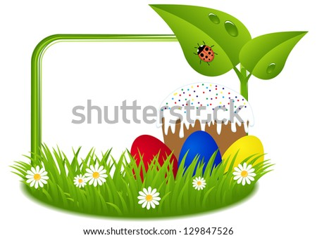 greeting card for Easter with cake and painted eggs on green grass