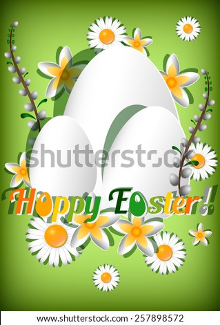 Greeting card for Easter with white paper eggs and spring flowers on green background. Vector illustration