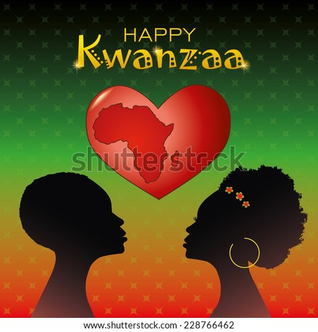 Greeting card for Kwanzaa with silhouette of couple of Africans and heart with the mark of contours of Africa. Vector illustration. - stock vector