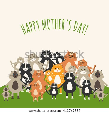 Greeting card for Mother's Day with cute cats and kittens - stock vector
