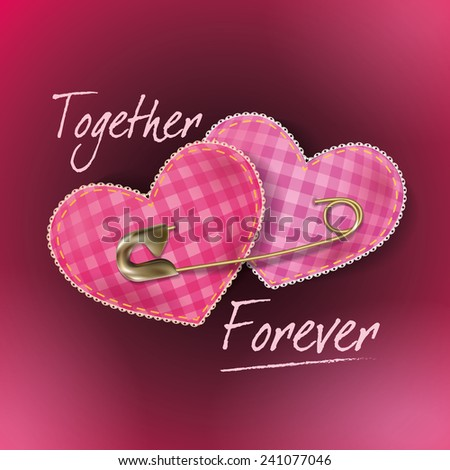 Greeting card for Valentine's Day with two hearts in the form of pad for needles pinned with a safety pin. - stock vector
