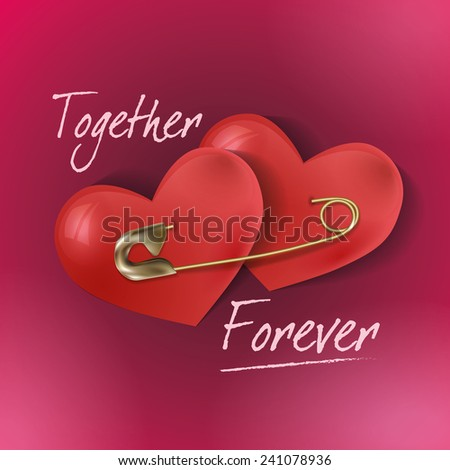 Greeting card for Valentine's Day with two hearts pinned together with a safety pin. - stock vector