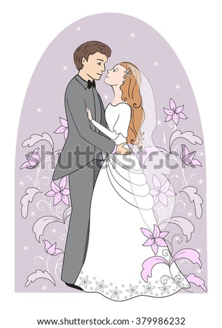 Greeting card for wedding. The bride and groom dance. - stock vector