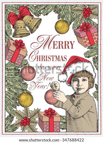 Greeting card frame. Happy New Year and Merry Christmas. Winter background. Gifts toys bells wreath realistic. Boy dresses Christmas tree. Child Set Sale. Freehand drawing. Santa. Stock Illustration.