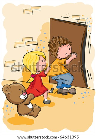 Greeting card - Get in the door - everything grouped for easy use - stock vector