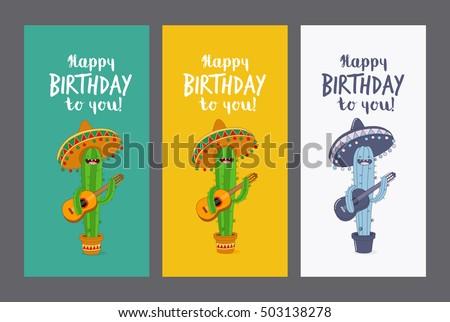 Greeting Card Happy Birthday Funny Cactus Vector 503138278 – Greeting Cards Birthday Funny