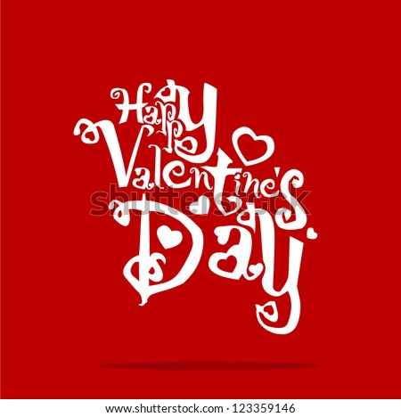 Greeting card. Happy Valentine's Day line, vector illustration EPS 10 - stock vector