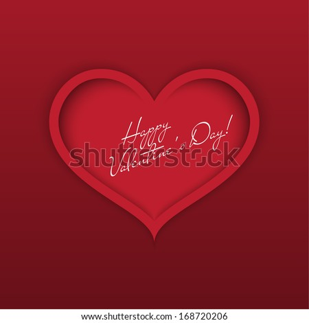 Greeting card Happy Valentine's Day. Red heart with shadows and greeting text