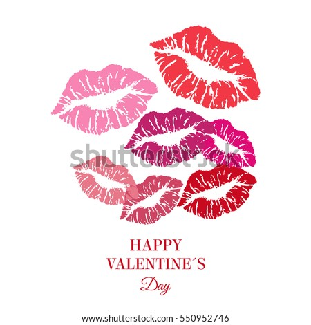 Greeting card. Happy Valentine's day. Women's Lips. Vector.