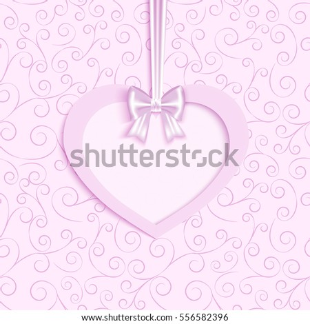 greeting  card in pink vintage background with heart and  place for your text, vector illustration