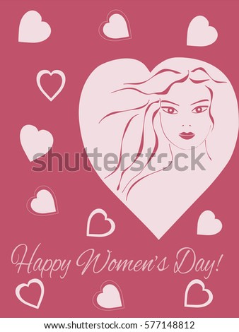 Greeting Card International Women's Day on 8 March, pink color,  silhouette of a girl, heart