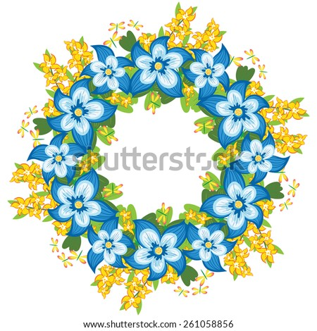 Greeting card, invitation, banner.  Frame for your text with floral background .Vector illustration. - stock vector