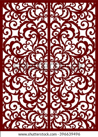 greeting card, laser cut pattern - stock vector
