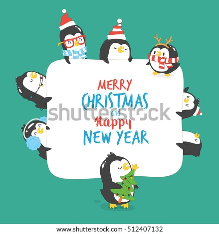Greeting Card Merry Christmas Happy New Stock Vector 512407132 ...