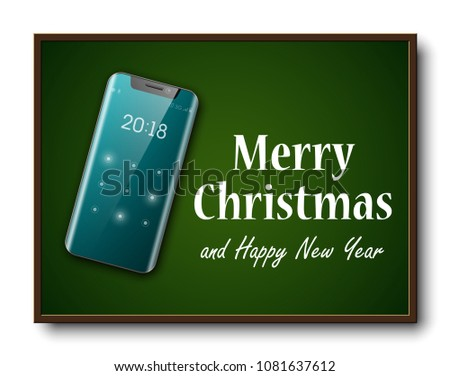 Greeting card merry christmas happy new stock vector 1081637612 greeting card merry christmas and happy new year holiday cellular telephone banner festive card congratulation m4hsunfo